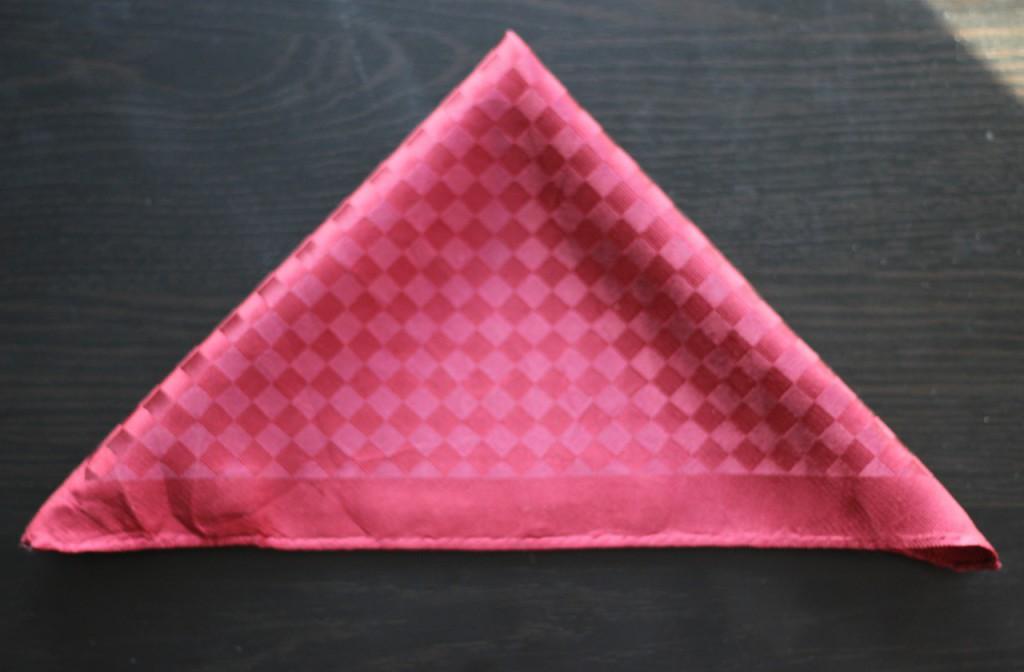 Velký trojúhelník přehněte z jednoho rohu opět na polovinu.